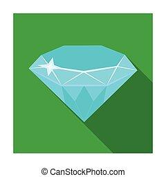 Gem diamond. A valuable prize in the casino.Kasino single icon in flat style vector symbol stock illustration.