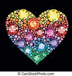 Gem Heart - heart made of colored gems