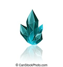 Gem Icon - Magic Blue Crystal with Sparkle. Decoration icon...