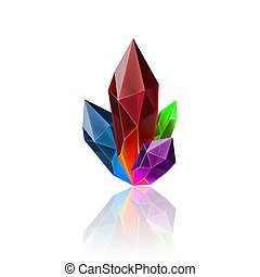 Gem Icon - Magic Crystal in Rainbow Color with Sparkle....