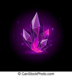 Gem Icon - Magic Purple Crystal with Sparkle. Decoration...