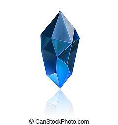 Gem Icon - Gem or Crystal. Blue Magic Gemstone. Precious Gem...