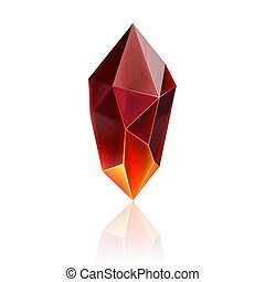 Gem Icon - Gem or Crystal. Red Magic Gemstone. Precious Gem...