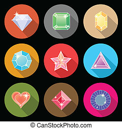Gem stone cutting flat color icons with long shadow