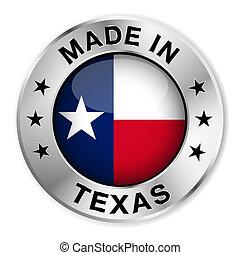 gemaakt, badge, zilver, texas