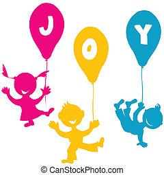 gemaakt, ballons, kinderen, hand
