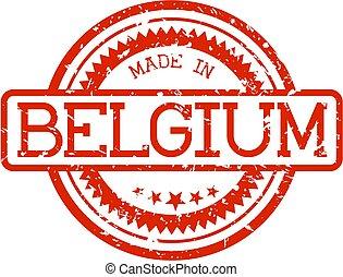 gemaakt, belgie, rubberstempel