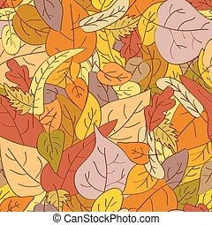 gemaakt, bladeren, seamless, herfst, achtergrond, getrokken