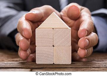 gemaakt, blokjes, bedekking, houten, thuis, zakenman, model