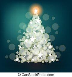 gemaakt, boompje, achtergrond, sterretjes, kerstmis