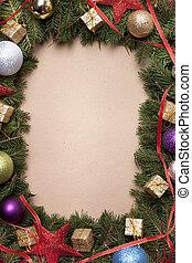 gemaakt, boompje, hand, versiering, papier, grens, kerstmis