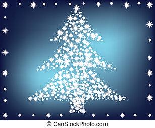 gemaakt, boompje, kerstmis, sterretjes