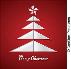 gemaakt, boompje, papier, vrolijk, witte kerst, kaart