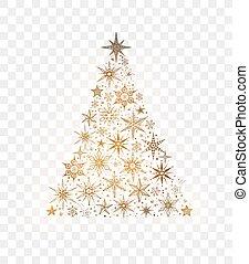 gemaakt, boompje, snowflakes, sterretjes, kerstmis