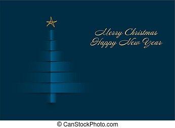 gemaakt, boompje, strepen, papier, kerstmis kaart