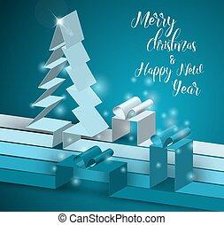 gemaakt, boompje, strepen, papier, zalige kerst, kaart