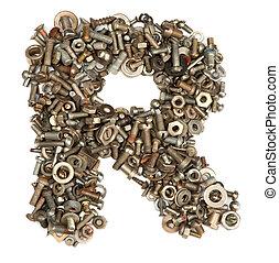 gemaakt, bouten, alfabet, -, r, brief