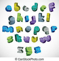 gemaakt, brieven, kleurrijke, alfabet, boxes., futuristisch, 3d