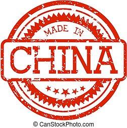 gemaakt, china, postzegel, rubber