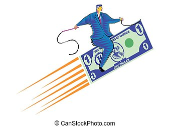 gemaakt, clipart, dollar, vliegen, -, valuta, paardrijden, zakenman, tapijt