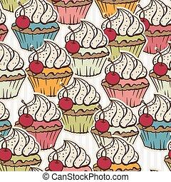gemaakt, cupcakes., model, seamless, achtergrond, ouderwetse