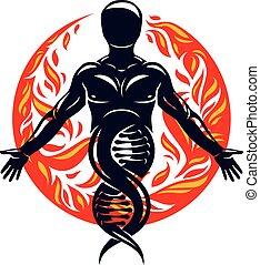 gemaakt, dna, wetenschappelijk, eco, mystiek, energie, omringde, individu, karakter, vriendelijk, vector, fireball., alternatief, concept., symbool, vernieuwbaar, technologie
