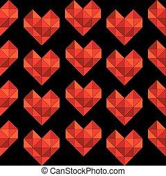 gemaakt, driehoek, seamless, geometrisch, achtergrond, hartjes