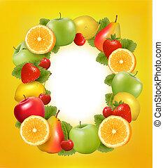 gemaakt, fruit., sappig, vector., frame, fris