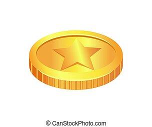 gemaakt, goud, materiaal, illustratie, vector, munt