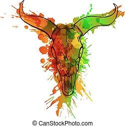 gemaakt, grunge, schedel, kleurrijke, plonsen, stier