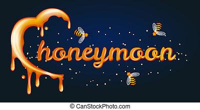 gemaakt, halfmoon, concept., maan, honing, heartshaped