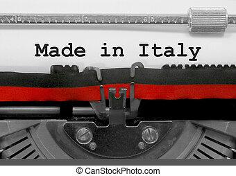 gemaakt, in, italië, tekst, door, de, oud, typemachine, op wit, papier