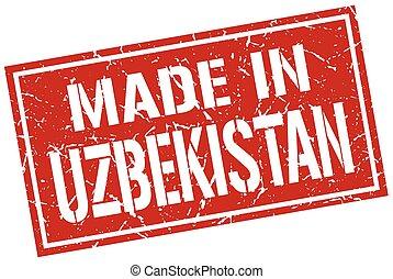 gemaakt, in, oezbekistan, postzegel