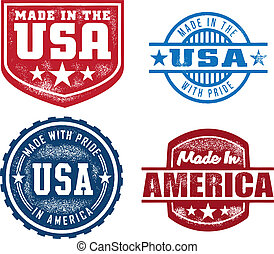 gemaakt, in, usa, ouderwetse , postzegels