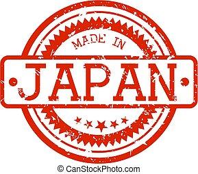 gemaakt, japan, postzegel, rubber