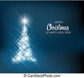 gemaakt, kerstboom, licht