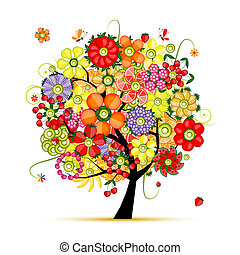 gemaakt, kunst, boom., vruchten, floral, bloemen
