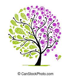 gemaakt, kunst, boompje, twee, onderdelen, ontwerp, jouw