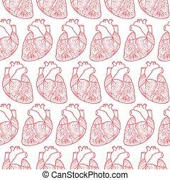 gemaakt, model, seamless, achtergrond, hartjes, witte , anatomisch