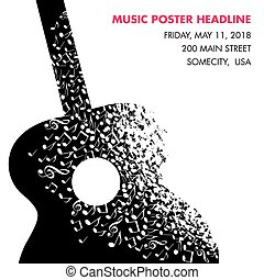 gemaakt, opmerkingen, muzikalisch, gitaar, mal, pagina