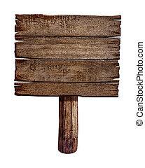 gemaakt, oud, houten, hout, meldingsbord, plank, post,...