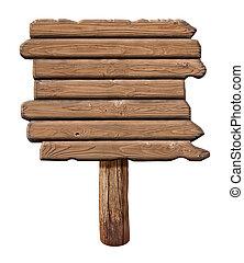 gemaakt, oud, houten, signboard., wood., meldingsbord, straat