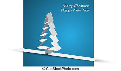 gemaakt, papier, streep, zalige kerst, kaart