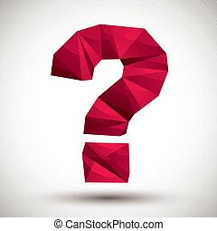 gemaakt, pictogram, f, moderne, vraagteken, rood, geometrisch, 3d, best, stijl