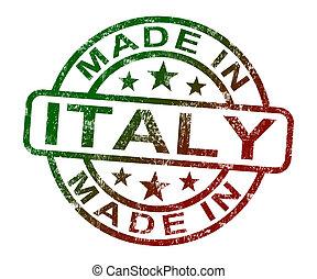 gemaakt, produceren, italië, optredens, postzegel, of, product, italiaanse