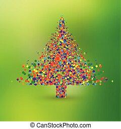 gemaakt, punten, kleurrijke, boompje, vector, kerstmis