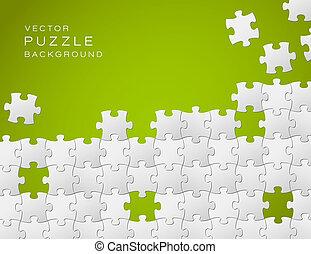 gemaakt, puzzelstukjes, vector, groene achtergrond, witte