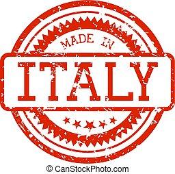 gemaakt, rubberstempel, italië