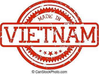 gemaakt, rubberstempel, vietnam