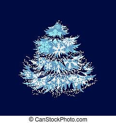 gemaakt, snowflakes, boompje, groet, kerstmis kaart